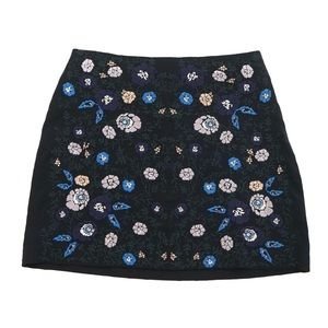 Club Monaco Embroidered Floral Mini Skirt